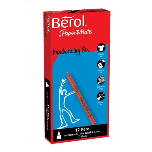 Berol Handwriting Pen Water-based Ink Plastic Black Ref S0378750 [Pack 144] [Bulk Pack] Jan-Dec 2018
