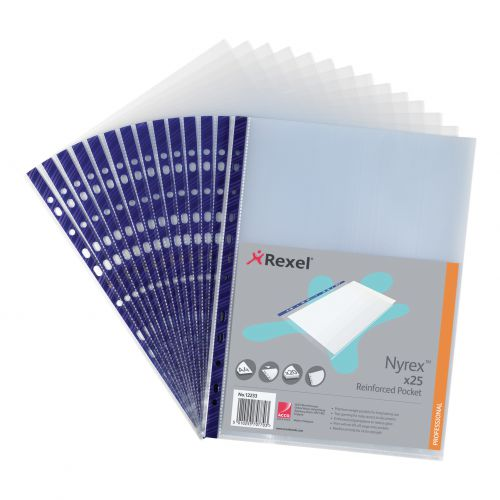 Rexel Nyrex Pocket Reinforced Blue Strip Top-opening 85 Micron A4 Clear Ref 12233 [Pack of 25]