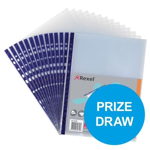 Rexel Nyrex Pocket Reinforced Blue Strip Top-opening A4 Clear Ref 12233 [Pack of 25]