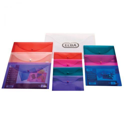 Elba Snap Wallet Polypropylene A4 Translucent Assorted Ref 100201306 [Pack 5] [3 For 2] Jan-Dec 2019