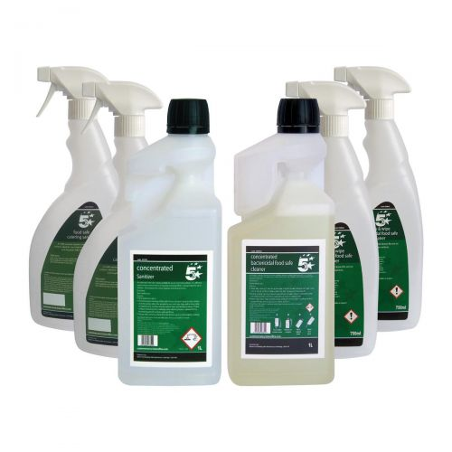 5 Star Facilities Food Safe Sanitiser & Bactericidal Cleaner 1 Litre [FREE 750ml Trigger Bottles]