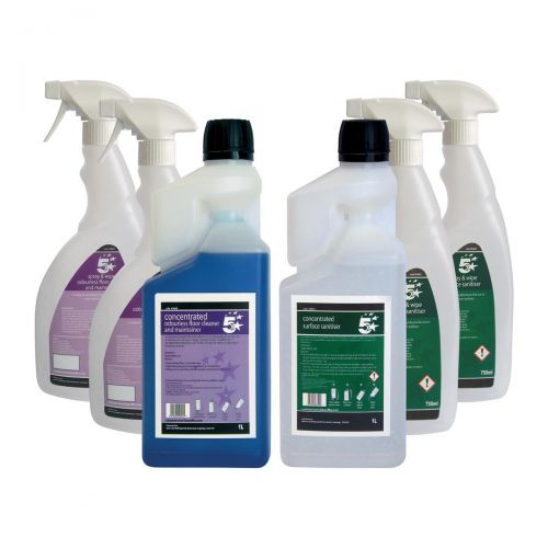 5 Star Facilities Odourless Floor Cleaner & Surface Sanitiser 1 Litre [FREE 750ml Trigger Bottles]