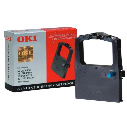 OKI Ribbon Cassette Fabric Nylon Black [for 100 300 Series-9 PIN-182 3-192 3-320 I-3320] Ref 09002303