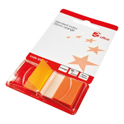 5 Star Office Standard Index Flags 50 Sheets per Pad 25x45mm Orange [Pack 5] [3 for 2] Nov 2018