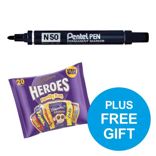 Pentel N50 Permanent Marker Bullet Tip 2.2mm Black Ref N50-A [Pack 12] [FREE Cadbury Heroes] Oct-Dec 2018