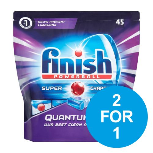 Finish Quantum Max Dishwasher Tablets Ref 3006193 [Pack 45] [2 for 1] Oct-Dec 2018