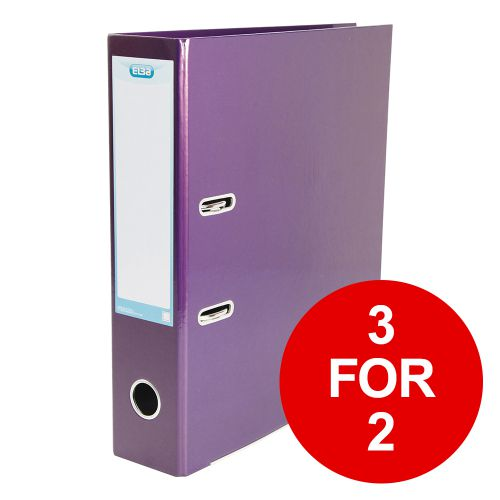 Elba Classy Lever Arch File A4 70mm Metalic Purple Ref 400021021 [3 for 2] Jan-Dec 2019