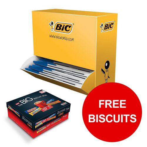 Bic Cristal Ball Pen Clear Barrel 1.0mm Tip Blue Ref 896039 [Pack 100] [Free Biscuits] Jan-Mar 2019