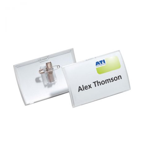 Durable Name Badge Click Fold D12Combi Clip and Insert Ref 8214/19 [Pack 25] [Free Inserts] Jan-Mar 2019