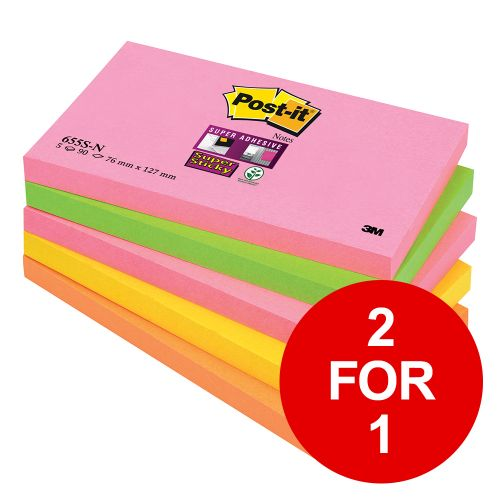 Post-it Super Sticky Notes 76x127mm Capetown Rainbow Ref 655SN [Pack 5] [2 for 1] Jan-Mar 2019