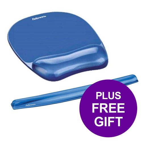 Fellowes Crystal Mouse Mat Pad with Wrist Rest Gel Blue Ref 91141 [FREE Keyboard Wrist Rest] Apr-Jun 2019