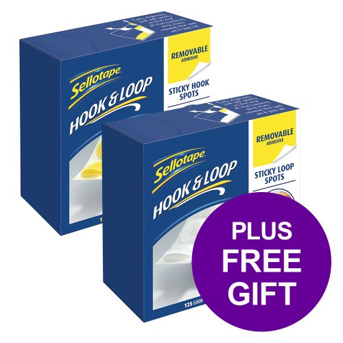 Sellotape Removable Hook Spots [Pack 125] [FREE Sellotape Removable Loop Spots Pack 125]