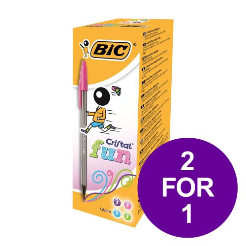 Bic Cristal Fun Ball Pen Large 1.6mm Tip 0.42mm Line Assorted Ref 895793 [Pack 20] [2 For 1] Apr-Jun 2019
