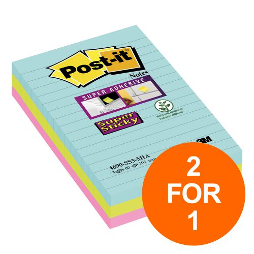 Post-It Super Sticky Notes Miami Ruled 90 Sheets 101x152mm Ref 4690-SS3MIA [Pack 3][2 For 1] Jul-Sept 19