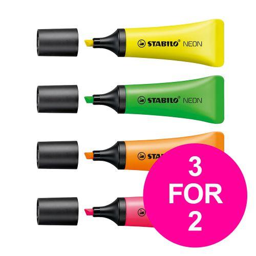 Stabilo Neon Highlighter Assorted Ref 72/4-1 [Pack 4] [3 for 2] Jan-Mar 2020