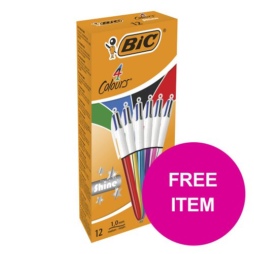 Bic 4 Colours Shine Ballpoint Pen Medium Assorted Ref 964775 [Pack 12] [FREE Post It Notes] Jan-Mar 2020