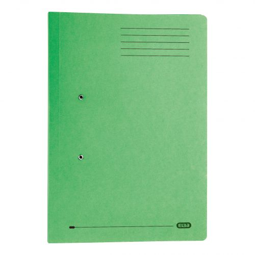 Elba Strongline Transfer Spring File Recycled Pocket 320gsm 36mm Foolscap Green Ref 100090147 [Pack 25]