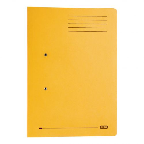 Elba Strongline Transfer Spring File Recycled Pocket 320gsm 36mm Foolscap Yellow Ref 100090150 [Pack 25]