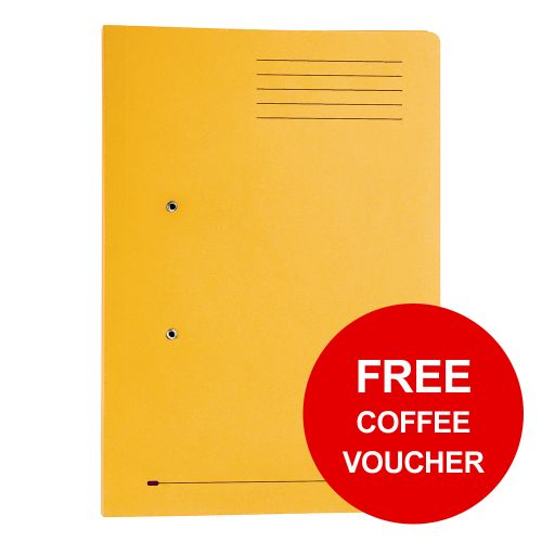Elba StrongLine Transfer Spring File Recycled 320gsm Foolscap Yellow Ref 100090150 [Pack 25] [REDEMPTION]