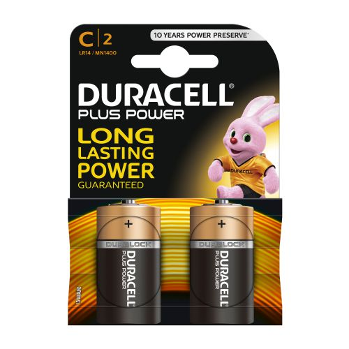 Duracell Plus Power Battery Alkaline 1.5V C Ref 81275429 [Pack 2]