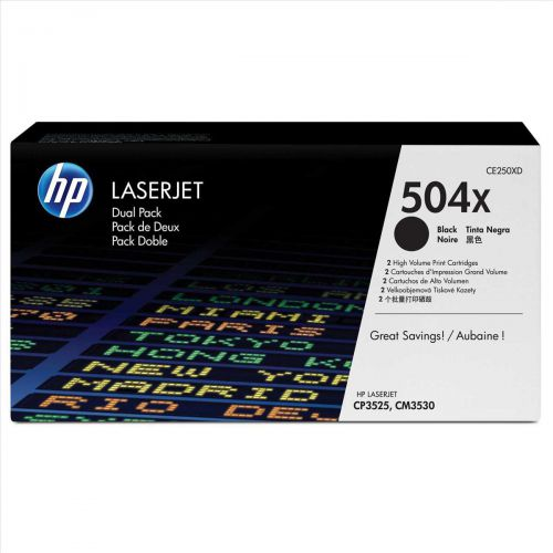 HP 504X Laser Toner Cartridge HY Page Life 10500pp Black Ref CE250XD [Pack 2]