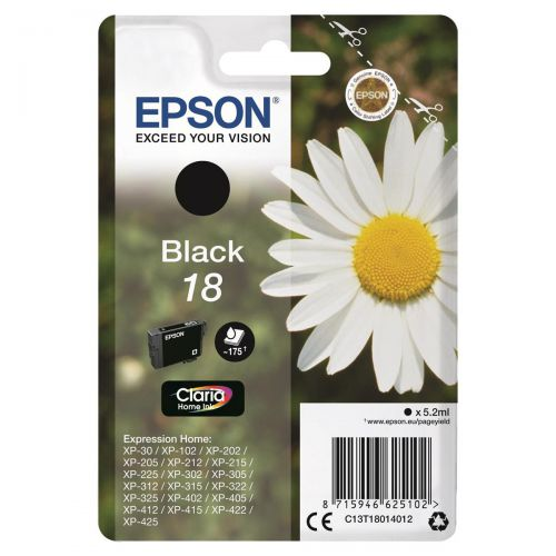 Epson 18 Inkjet Cartridge Daisy Page Life 175pp 5.2ml Black Ref C13T18014012