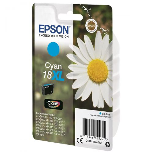 Epson 18XL Inkjet Cartridge Daisy High Yield Page Life 450pp 6.6ml Cyan Ref C13T18124012