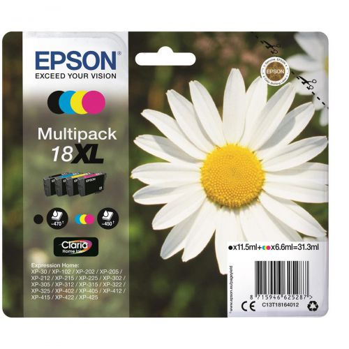 Epson 18XL Inkjet Carts Daisy High Yield Black 11.5ml Cyan/Magenta/Yellow 6.6ml Ref C13T18164012 [Pack 4]