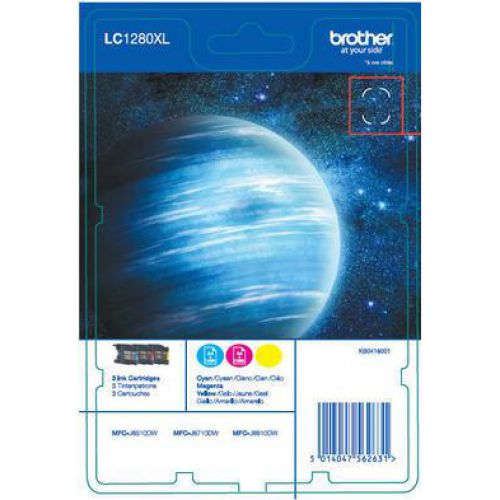 Brother Inkjet Cart Rainbow Pack HYLC1280XL PageLife 1200pp Cyan/Magenta/YellowRef LC1280XLRBWBP [Pack 3]