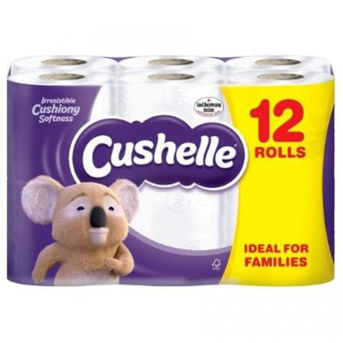 Cushelle Toilet Rolls 2-Ply 180 Sheets 120x104.5mm 21.6m White Ref 1102089 [Pack 9 Plus 3 FREE]