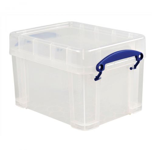 Really Useful Storage Box Plastic Lightweight Robust Stackable 3 Litre W180xD245xH160mm Clear Ref 3C