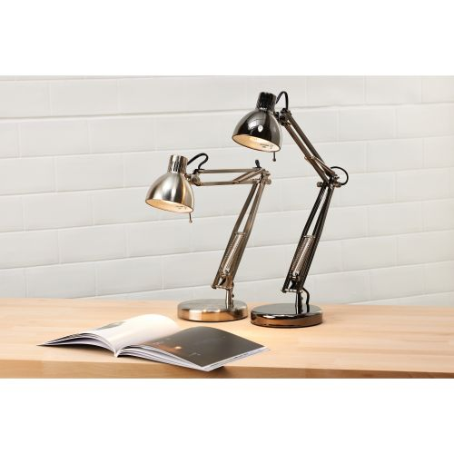 Poise Desk Lamp with Adjustable Arm 35W Max Height of 540mm Base 155x155x35mm Brushed Chrome