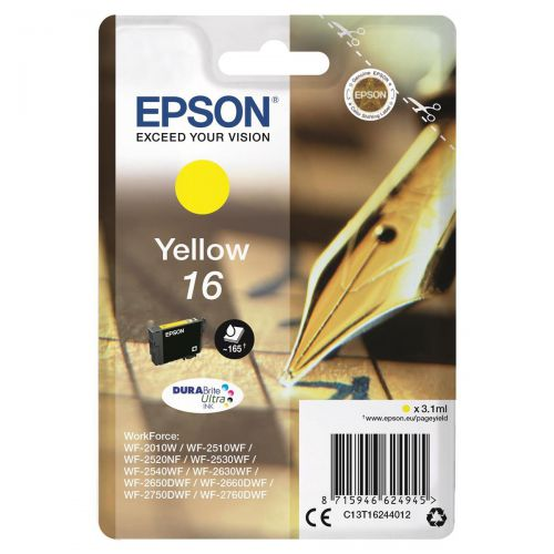 Epson 16 Inkjet Cartridge Pen & Crossword Page Life 165pp 3.3ml Yellow Ref C13T16244012