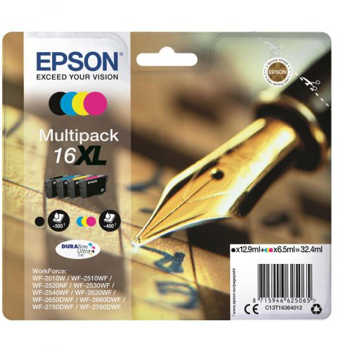Epson 16XL InkjetCart Pen&Crossword HY Page Life 500pp Black 450pp C/M/Y 32.4ml Ref C13T16364012 [Pack 4]