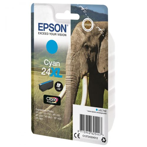 Epson 24XL Inkjet Cartridge Elephant High Yield Page Life 740pp 8.7ml Cyan Ref C13T24324012