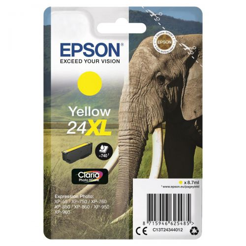 Epson 24XL Inkjet Cartridge Elephant High Yield Page Life 740pp 8.7ml Yellow Ref C13T24344012