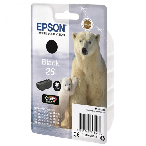 Epson 26 Inkjet Cartridge Polar Bear Page Life 220pp 6.2ml Black Ref C13T26014012