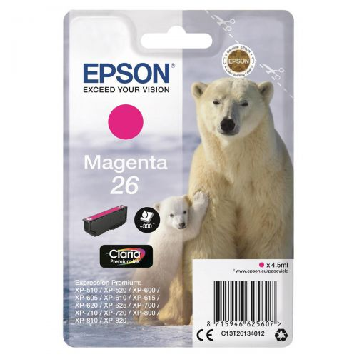 Epson 26 Inkjet Cartridge Polar Bear Page Life 300pp 4.5ml Magenta Ref C13T26134012