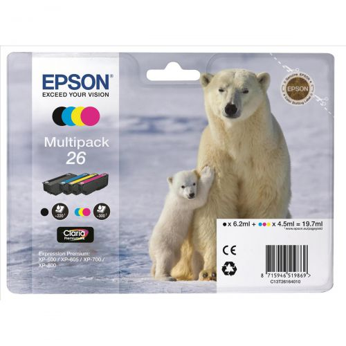 Epson 26 Inkjet Cartridge Polar Bear Black/Cyan/Magenta/Yellow 19.7ml Ref C13T26164010 [Pack 4]