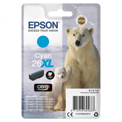 Epson 26XL Inkjet Cartridge Polar Bear High Yield Page Life 700pp 9.7ml Cyan Ref C13T26324012