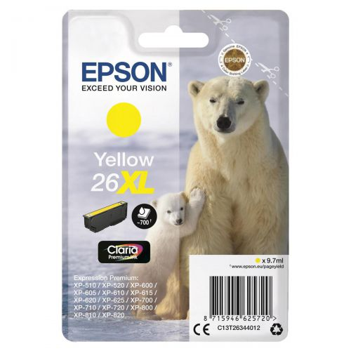 Epson 26XL Inkjet Cartridge Polar Bear High Yield Page Life 700pp 9.7ml Yellow Ref C13T26344012