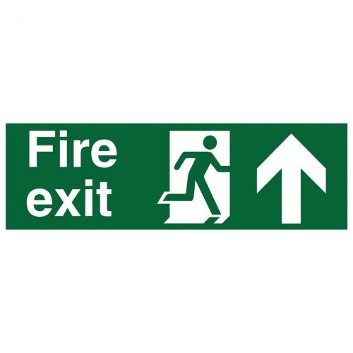 Stewart Superior Fire Exit Sign Man and Arrow Straight Up W450xH150mm Self-adhesive Vinyl Ref SP129SAV