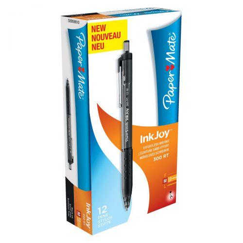 Paper Mate InkJoy 300 RT Ball Pen Medium 1.0mm Tip Black Ref S0959910 [Pack 12]