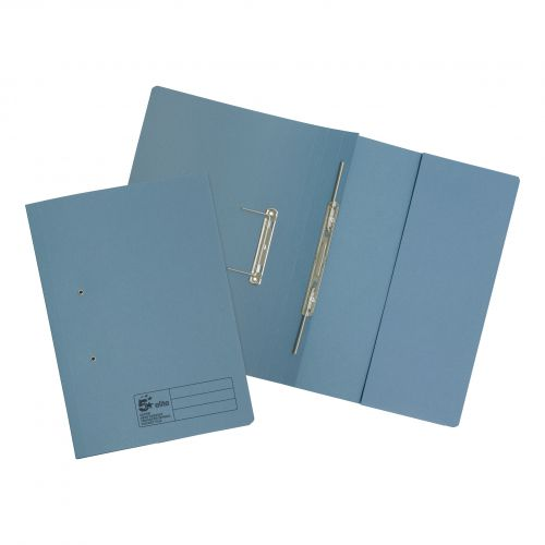 5 Star Elite Transfer Spring Pocket File Super Heavyweight 420gsm Foolscap Blue [Pack 25]