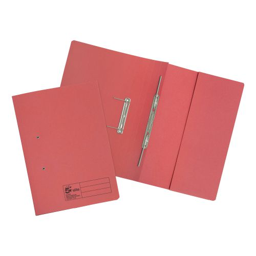 5 Star Elite Transfer Spring Pocket File Super Heavyweight 420gsm Foolscap Red [Pack 25]