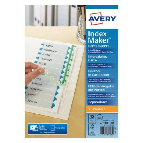 Avery Indexmaker Dividers A4 Plus 10 Part Extra Wide White Ref 01999001 L7455-10