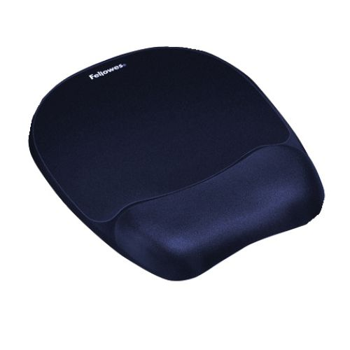Fellowes Memory Foam Mousepad Wrist Support Blue Ref 9172801