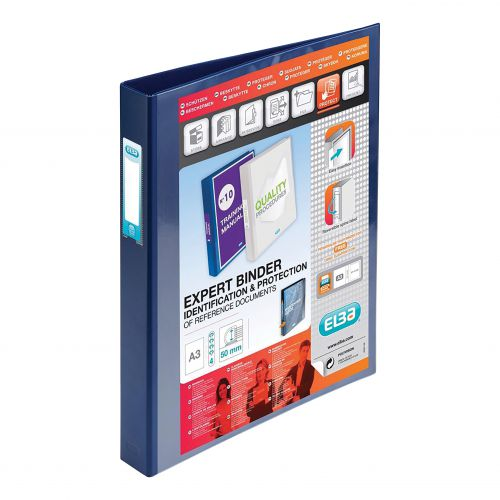 Elba Vision Ring Binder PVC Clear Front Pocket 4 D-Ring A3 Portrait 30mm Blue Ref 400009731 [Pack 2]