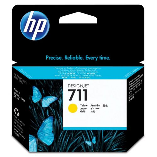 Hewlett Packard [HP] No.711 Inkjet Cartridge 29ml Yellow Ref CZ136A [Pack 3]