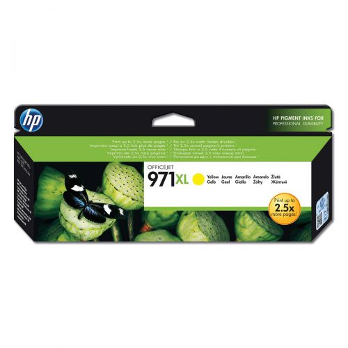 Hewlett Packard [HP] No.971XL Inkjet Cartridge High Yield Page Life 6600pp 83ml Yellow Ref CN628AE